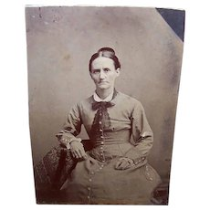 VICTORIAN Tintype - Lady, School Marm, Seated