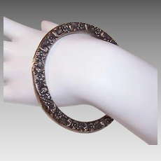 ANTIQUE VICTORIAN Sterling Silver Bangle - Bracelet, Repousse, Double Sided