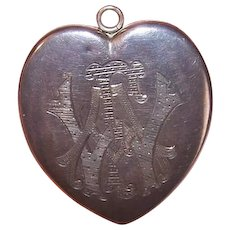 ANTIQUE VICTORIAN Sterling Silver Locket - Foster & Bailey, Largest Size, Heart, Engraved Initials, FAW