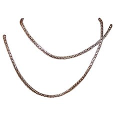 """ANTIQUE VICTORIAN 9K Gold Neck Chain - 19"""" Long, 2mm Wide, 5.6 Grams, Rose Gold"""