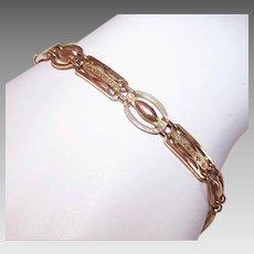ART DECO 9K Gold Bracelet - Link, Charm, Rose Gold, Engraved Links