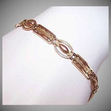 ART DECO 9K Gold Bracelet - Link, Charm, Rose Gold, Engraved Links