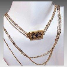 ANTIQUE GEORGIAN Gold Necklace - Triple Strand Chain, Enamel, Floral, Forget Me Not