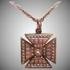 ANTIQUE VICTORIAN 18K Gold Pendant - Natural Pearl, Pink Coral, Maltese Cross, Charm
