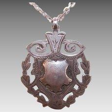 ART DECO Sterling Silver Fob - English, Shield, Unused, Pendant, Charm