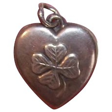 Vintage STERLING SILVER Puffy Heart Charm - Four Leaf Clover, Good Luck, Lucky