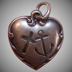Vintage STERLING SILVER Puffy Heart Charm - Faith, Hope, Charity, Engraved PEARL