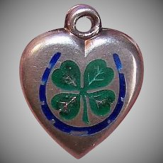 Vintage STERLING SILVER Puffy Heart Charm - Enamel, Horseshoe, Four Leaf Clover