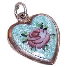 Sterling Silver Enamel Puffy Heart Charm