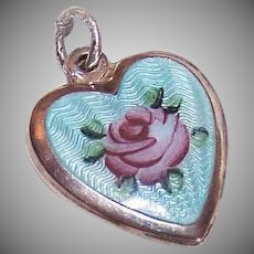Vintage STERLING SILVER Puffy Heart Charm - Blue Enamel, Pink Rose, Green Leaves