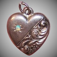 Vintage STERLING SILVER Puffy Heart Charm - Repousse, Opal, Engraved W
