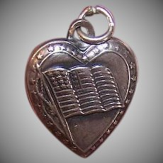 Vintage STERLING SILVER Puffy Heart Charm - American Flag, Stars, Engraved DADDY