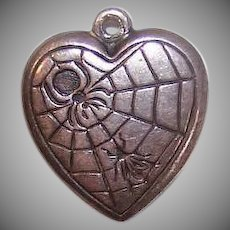 Vintage STERLING SILVER Puffy Heart Charm - Spider, Fly, Web, Engraved MH