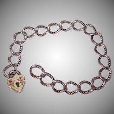 Vintage STERLING SILVER Charm Bracelet - Starter, Yellow, Enamel, Rose, Heart, Lock, Charm