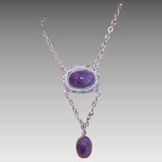 ART DECO Sterling Silver Necklace - Paye & Baker, Amethyst, Lavaliere, Drop