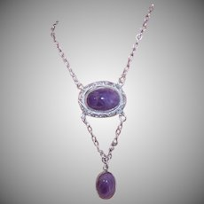 ART DECO Sterling Silver Necklace - Paye & Baker, Amethyst, Lavaliere, Drop