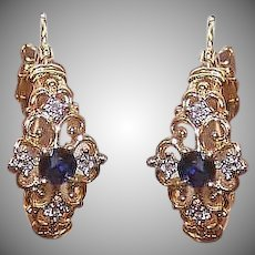 Vintage 10K GOLD Earrings - .42CT TW, Diamond, Sapphire, Hoops, Pierced