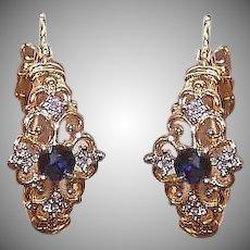 Vintage 10K GOLD Earrings - .42CT TW, Diamond, Sapphire, Hoops, Pierced