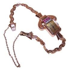 Lucien Picard Retro 14K Rose Gold Ruby Diamond Ladies Wrist Watch Wristwatch