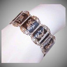 Vintage STERLING SILVER Bracelet - Link, Siam, Black Niello, Elephant, Dancer, Buddha