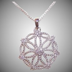 Vintage STERLING SILVER Pendant - Snowflake, Cubic Zirconia, CZ