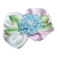 Vintage AMERICAN RIBBONWORK - Pink/Cream/Blue, Satin, Floral, Decoration, Embellishment