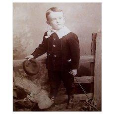 VICTORIAN Cabinet Photo - Little Boy, Black Velvet Suit, Lace Collar, Hat & Cane