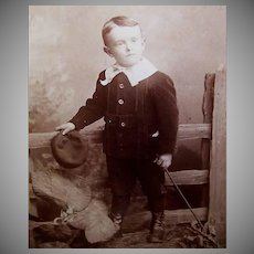 VICTORIAN Cabinet Photo - Little Boy, Black Velvet Suit, Lace Collar, Hat & Cane