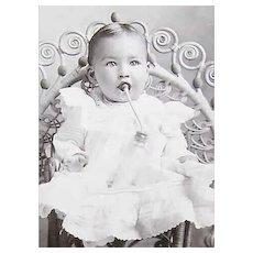 VICTORIAN Cabinet Photo - Baby Girl Drinking Her MIlk, Unique Way of Feeding