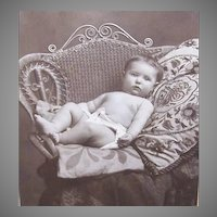 VICTORIAN Cabinet Photo - Baby Boy in Diaper, Wicker Chair, Crewel Pillow