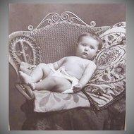 VICTORIAN Cabinet Photo - Baby Boy in Diaper, Wicker Chair, Crewel Pillow