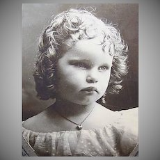 VICTORIAN Cabinet Photo - Little Girl Wearing a Heart Locket Pendant
