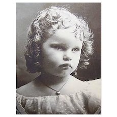 VICTORIAN Cabinet Photo - Little Girl Wearing a Heart Locket Pendant