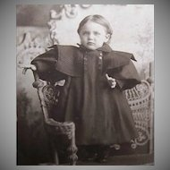VICTORIAN Cabinet Photo - Infant Girl Standing on Wicker Table