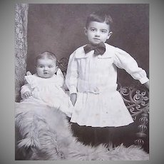 VICTORIAN Cabinet Photo - Baby Brothers, One in a Dress, One on a Bear Rug