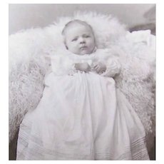 VICTORIAN Cabinet Photo - Baby on a Bearskin Rug