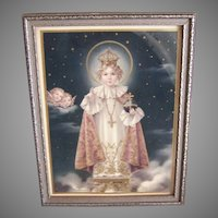 Framed ART DECO Religious Print - Infant of Prague, Angels