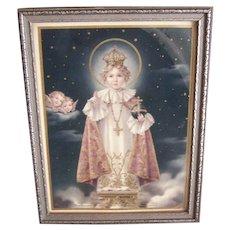 Framed ART DECO Religious Print - Infant of Prague, Angels