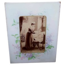 ANTIQUE VICTORIAN Glass Frame - Hyacinths, Nursery Image, Mother & Child