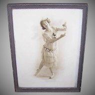 Framed BALLERINA Print - Art Deco Wood Frame, Edwardian Era Dancer