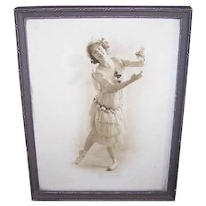 Framed BALLERINA Print - Art Deco Wood Frame, Edwardian Era Dancer