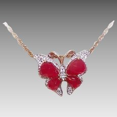 Vintage STERLING SILVER Pendant - Vermeil, Rose Gold, Diamond, Butterfly