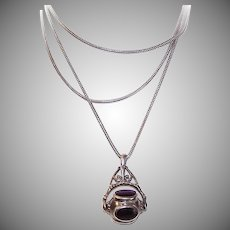 """Vintage STERLING SILVER Necklace - 36"""" Snake Chain, Fob Pendant, Multistone, Mechanical"""