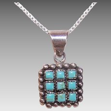 Vintage STERLING SILVER Pendant - Turquoise, Geometric, With Chain