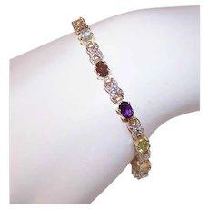 VIntage STERLING SILVER Bracelet - Vermeil, Diamond, Multi Gemstone, Tennis Bracelet, Line Bracelet