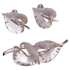 Retro Modern STERLING SILVER Set - Pin, Earrings, Stylized Leaf, Binder Brothers