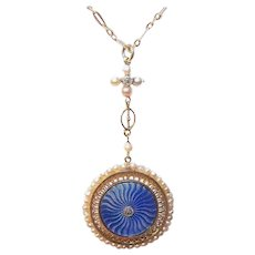 ART NOUVEAU 18K Gold Pendant - French, Diamond, Guilloche Enamel, Natural Pearl, With Chain