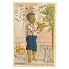 ANTIQUE VICTORIAN Trade Card - Negro, Black, Boy, Eating Mince Pie