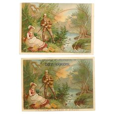 Pair ANTIQUE VICTORIAN Trade Cards - Lady & Gent by a Stream, Fishing, Trout