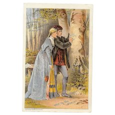 ANTIQUE VICTORIAN Trade Card - White Sewing Machines, Lord & Lady Beside Tree